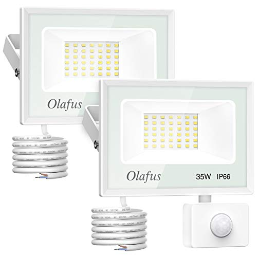 Olafus 2 Paquetes 35W Focos LED Exterior con Sensor de Movimiento, Proyectores LED 3800LM 5000K Blanco Frío, Impermeable IP66, Iluminación Exterior de Seguridad para Puerta Jardín Patio Garaje, etc.