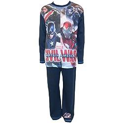 Niños Marvel Capitán América de Los Vengadores máquina de Guerra Civil War pijama tamaños desde 4a 10años azul azul 5-6 Años