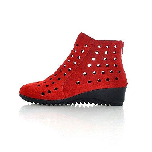 Adee con Zip satinata, punta arrotondata, pompe Shoes Rosso (rosso)