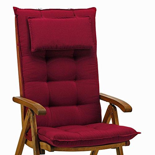 2 Luxus Auflagen für Hochlehner 9 cm dick mit Kopfkissen Miami 50089-31 (ohne Stuhl)