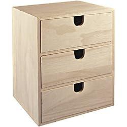 """Rayher 62382000 - Petite commode en bois avec 3 tiroirs pour le rangement ordonné de petits accessoires de bureau, de couture, des bijoux & Cie €"""" marron - 21,5 x 14,5 x 16 cm"""