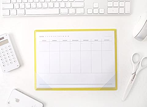 2YOUNG Weekly Memo Pad - Desk Notepad Weekly Planner Scheduler (Yellow)