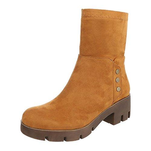 Ital-design Comfort Ankle Boots Scarpe Da Donna Slip-on Block Block Heel Block Tacco Zipper Stivaletti Cammello