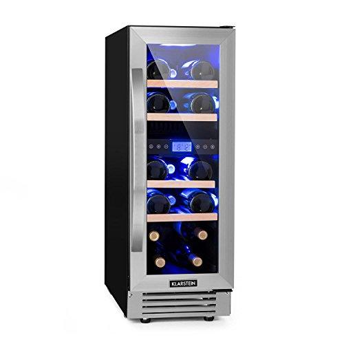 Klarstein Vinovilla Duo17 • Weinkühlschrank • Getränkekühlschrank • Volumen: 53 Liter • 4 Holzeinschübe • Touch-Bediensektion • LED-Innenbeleuchtung in 3 Farben wählbar • zwei Kühlzonen • schwarz