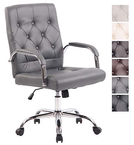 CLP Bürostuhl Leroy V2 mit Kunstlederbezug und hochwertiger Polsterung I Ergonomischer Drehstuhl mit höhenverstellbarer Sitzhöhe Grau -