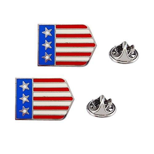 SELOVO Anstecknadel-Set, Motiv: USA-Flagge, Patriotische Emaille, 2 Stück