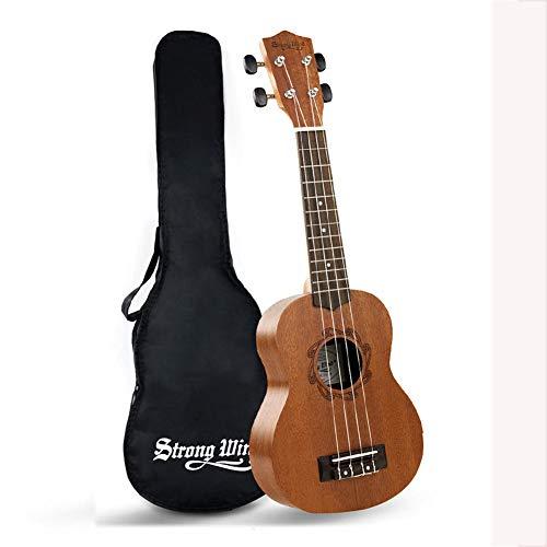 Ukelele, ukulele soprano per bambini, 53,3 cm, in mogano, per principianti, con borsa (ukulele soprano 53,3 cm)