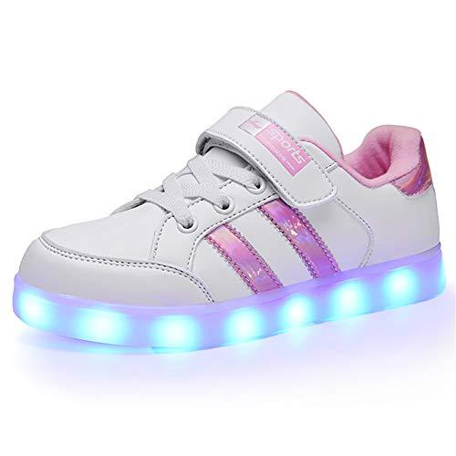 Kauson Unisex Kinder LED Schuhe 7 Farbe USB Aufladen LED Leuchtend Outdoor Sportschuhe Low Top Atmungsaktives Ultraleicht Wasserdicht Laufschuhe Gymnastik Turnschuhe Blinken Sneaker Für Jungen Mädchen