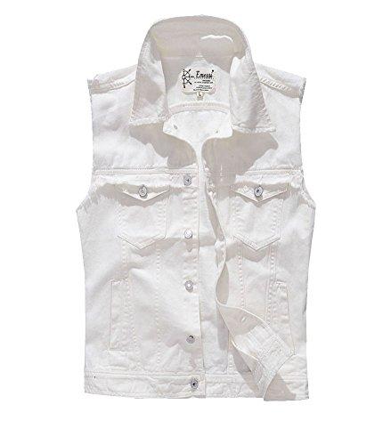 Gilet Jeans Uomo Senza Maniche Giacca Giubbotto Smanicato Denim Panciotto#0001 Bianco M