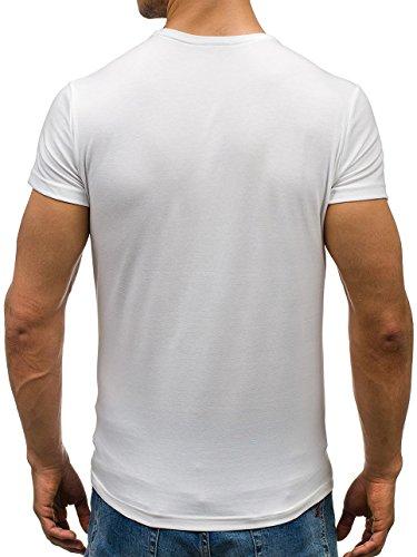 BOLF Herren T-shirt Figurbetont Kurzarm New Top Modisch Men's Slim Fit Basic Modern Marke Super 731 Weiß