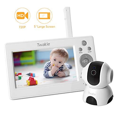 Babyphone mit Kamera, 5 Zoll Video Babyphone mit Schwenk- und Zoomfunktion, Nachtsich,2-Wege-Audio und Temperatursensor und Lange Akkulaufzeit, Schlaflied mit einstellbarer Lautstärke