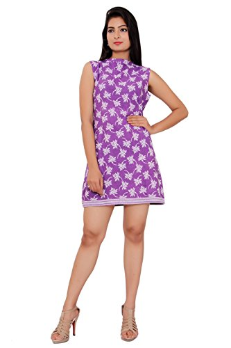 MSONS Women's Purple Flower Printed Short Dress  available at amazon for Rs.298