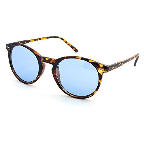 Kiss Sonnenbrille stil MOSCOT mod. WAVE Johnny Depp - Cult VINTAGE Leichte herren damen RUNDE unisex - HAVANNA/blau