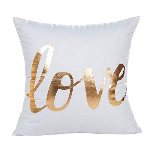 Funda de cojín de almohada, SKY Gold Foil Impresión Sofa almohada de la caja de la cintura Cojín Cojín Cover Home Decor 45cmX45cm (G)
