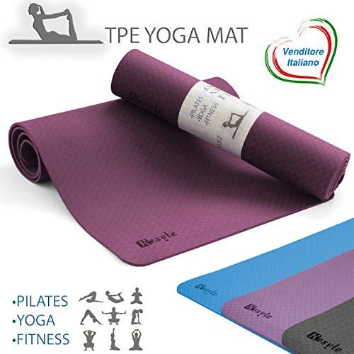 Kesyle® tappetino yoga nuova generazione |100% tpe ecologico antiodore | tappetino palestra fitness | yoga mat ginnastica | tappetino fitness | materassino addominali plank | alto design italiano