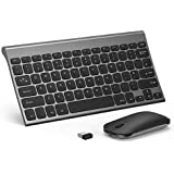 Wireless Keyboard and Mouse, Seenda Ultra Compact Rechargeable Wireless Keyboard with 3-Month Battery Life,Silent Mouse Clicking, Compatible with Windows-Space Grey