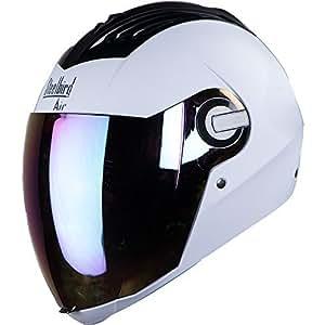 Steelbird Air SBA-2 Dashing Full Face Helmet with Visor (White/Silver, L)