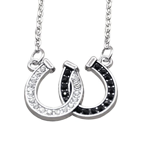 4 Halskette Lieben-familie Kinder (Hanessa Damen-Schmuck Halskette Hufeisen-Glücksbringer Pferde Tier Liebe Silber Schwarz Geschenk für Mädchen / Freundin / Pferde-fans)