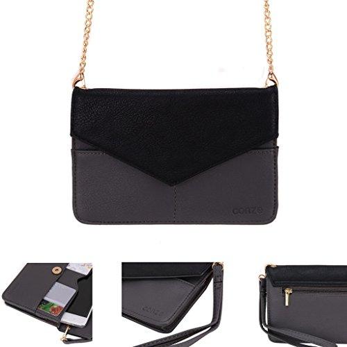 Conze da donna portafoglio tutto borsa con spallacci per Smart Phone per ARCHOS 50C Oxygen Grigio grigio grigio