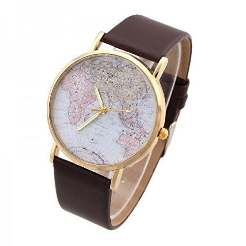 Reloj vintage retro con cuarzo analógico diseño globo terraqueo mundo - Marrón