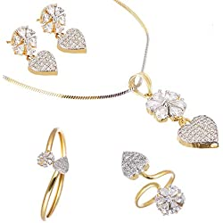 Zeneme Combo of Heart Shaped White Gold Plated and American Diamond Pendant with Earrings, Bracelet and Ring for Women