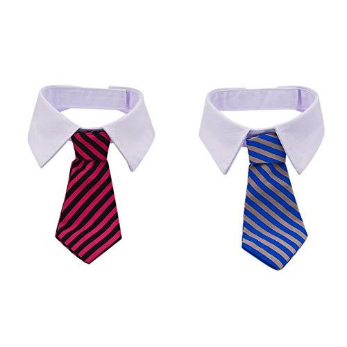 2 Stück Haustier Fliege einstellbar Katze Hund Krawatte Kostüm Krawatte Kragen Grooming Zubehör Atmungsaktiv für kleine Hunde Welpen Katze (Rosa, Blau) (Katze Bogen Krawatte Kostüm)