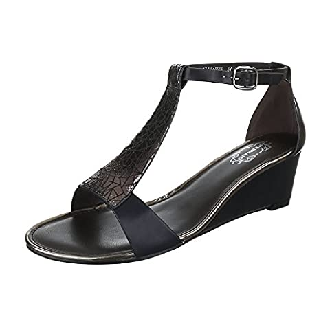 Keilsandaletten Damen-Schuhe Plateau Keilabsatz/ Wedge Keilabsatz Schnalle Ital-Design Sandalen / Sandaletten Schwarz, Gr 37,