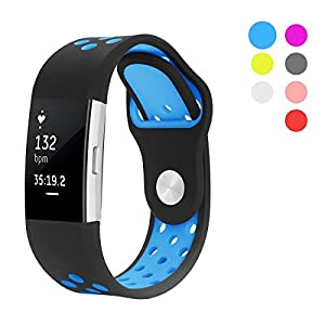 Hanlesi Strap Compatible with Fitbit Charge 2, Silica gel Soft Silicone Adjustable Fashion Replacement Sport Strap Accessory Band for Charge 2 Fitness Wristband