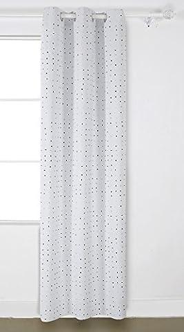 Deconovo Rideau Occultant Imprimé Pois à Oeillets 140x240cm Isolant Thermique Fenêtre pour Chambre Fille Gris et