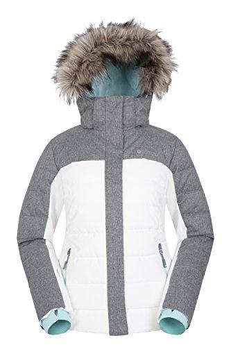 Mountain Warehouse Monte Rosa Skijacke für Damen - Gefütterte Winetrjacke, schneedicht, atmungsaktive Snowboardjacke, Abnehmbarer Schneerock - Ideale Skibekleidung Weiß DE 36 (EU 38)