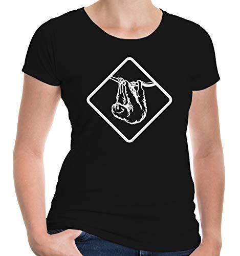 Girlie T-Shirt FAULTIER-L-Black-White Black-White (Haustiere In Kostüme Videos)
