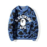 JW54store Men's Bape Blue Camouflage Printed Sweatshirt Long Sleeve