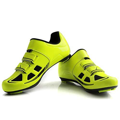 UZOICCO Scarpe da Bici da Corsa Scarpe da Ciclismo MTB SPD per Uomo Donna Ideali per Scarpe da Ciclismo su Strada da Montagna Scarpe ultraleggere per Bici,Yellow-42
