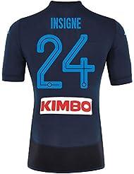 Napoli 3rd auténtico Match insigne Jersey 2017/2018(diseño de abanico printing), Azul marino