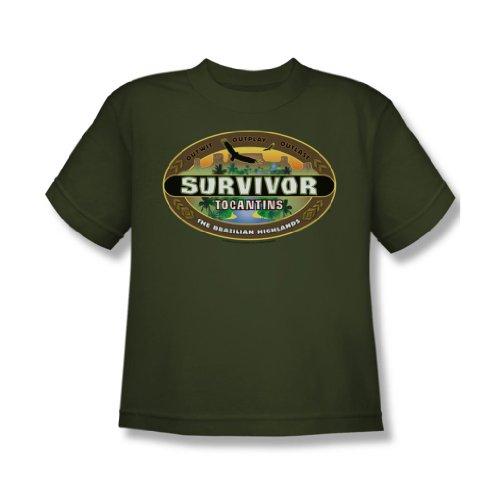 Cbs - Survivor / Tocantins Logo Youth T-Shirt in Military Grün, X-Large (18-20), Military Green