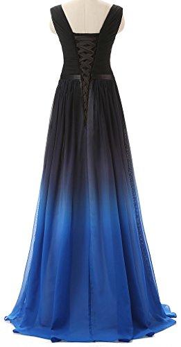 Eudolah Damen Abendkleider Partykleider Geburtstagkleider Bunte Traegerlos strapless Blau V