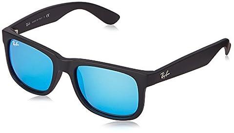 Ray Ban Unisex Sonnenbrille Justin, Gr. Small (Herstellergröße: 51), Schwarz (Gestell: schwarz, Gläserfarbe: blau 622/55)
