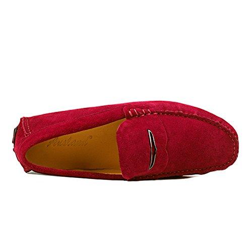 Comodidad Hombre Mocasines Para Shenduo Vestir D1181 Color Zapatos De La Mocasines Cuero De De Rojo tZxC0