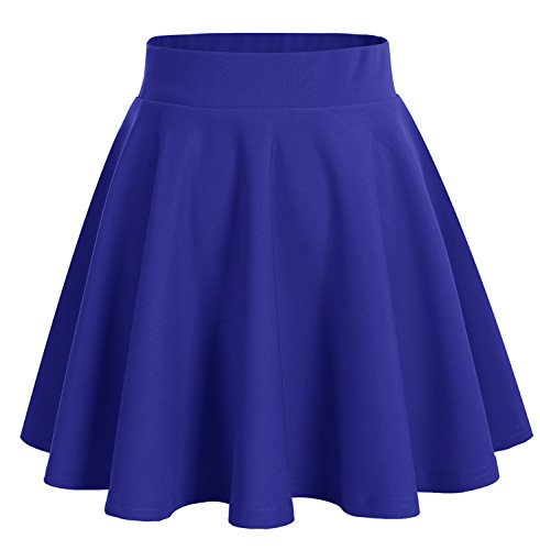 Dresstells Damen Basic Solide vielseitige Dehnbar Informell Mini Glocken Rock Royalblau 2XL (Royal Rock Blau)