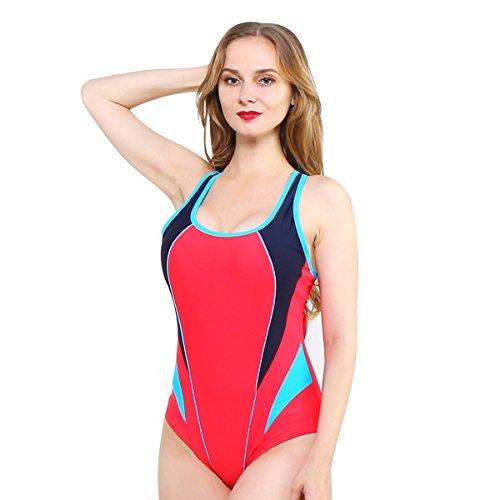 DD Bikini Einteiler Badeanzug Sexy Europa und Amerika Damen Sport Large Size Monokini Bademode, Schwarz (S-XXL) (Farbe : Red+Blue, größe : S) -