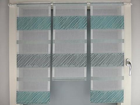 Miniflächen-Set türkis weiß quer gestreift Scheibengardine