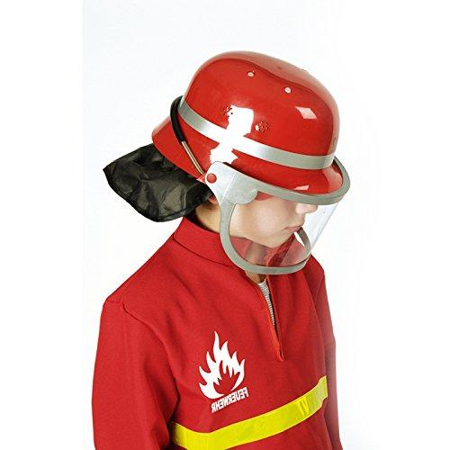 PARTY DISCOUNT ® Helm Feuerwehr mit Visier, rot, Kunststoff