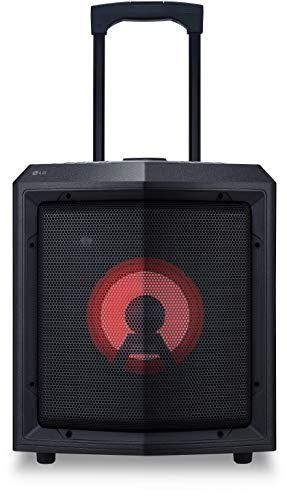 LG RL2 Akkubetriebener Bluetooth-Lautsprecher mit Rollen (Mikrofoneingang, USB, Radio, Party-Beleuchtung, 15 Std. Akkulaufzeit) schwarz (Radio Lg)