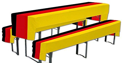 1 x Bierbank Hussen Deutschland 3er-Set Tisch 50x220cm Bank 25x220cm WM EM Fußball