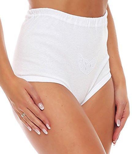 3er Pack Damen Slip mit Bein oder ohne Bein, weiß oder mit Blumen Muster (Schlüpfer, Unterhose) 438-444 (48/50, 444) - 2