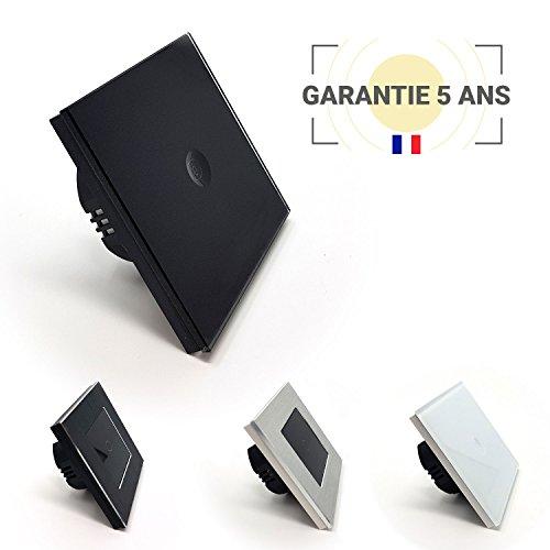 Interrupteur tactile 1 bouton va-et-vient Lumtouch - Design moderne, épuré et élégant - Garantie 5 ans - Modèle Noir