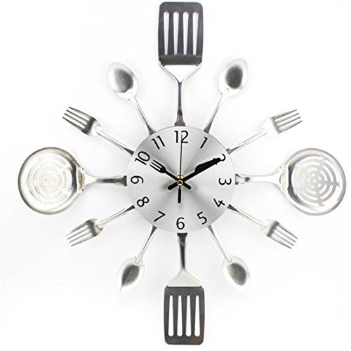 LoKauf Moderne Horloge pendule murale decoration Couverts en Métal fourchette cuillère - Argent