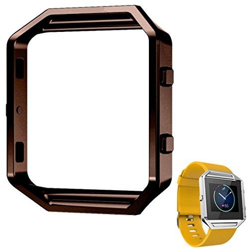 Fulltime® LFQ-65 Luxus-Uhr aus Edelstahl Ersetzen Metallrahmen -Uhr-Halter Uhrenarmband für Fitbit Blaze Smart Watch (Kaffee)