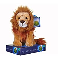 Posh Paws 12449 BBC Planet Earth II Lion Soft Toy with Display stand-25 cm, Gold