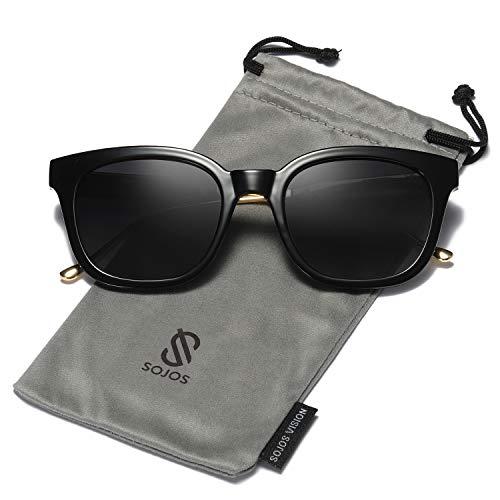 SOJOS Fashion Rechteckig Polarisierte Sonnenbrille Damen Herren in Mode SJ2050 mit Schwarz Rahmen/Grau Linse